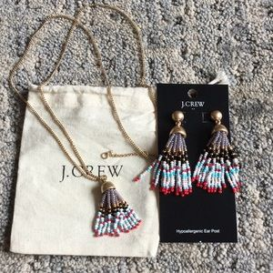 Beaded tassel earrings with matching long necklace